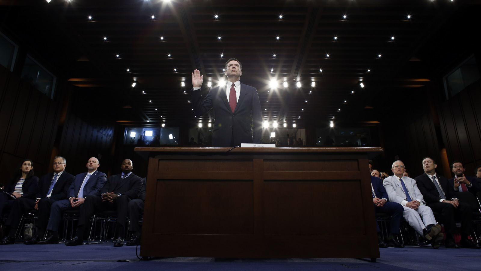 Former FBI Director James Comey is sworn in during a Senate Intelligence Committee hearing on Capitol Hill, Thursday, June 8, 2017, in Washington. (AP/Alex Brandon)