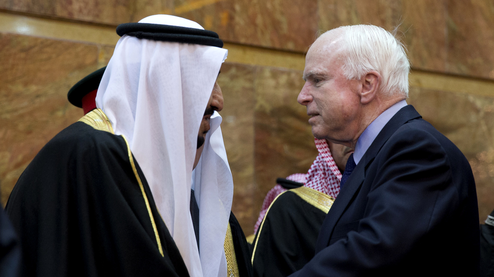 U.S. Sen. John McCain, R-Ariz., greets Saudi Arabia's King, Salman bin Abdul Aziz in Riyadh, Saudi Arabia. (AP/Carolyn Kaster)