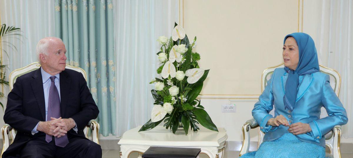 Senator John McCain has meets with the head of the US-designated terrorist organization, Mujahedin-e Khalq Organization (MEK), Maryam Rajavi, in the Albanian capital, Tirana, April, 2017.