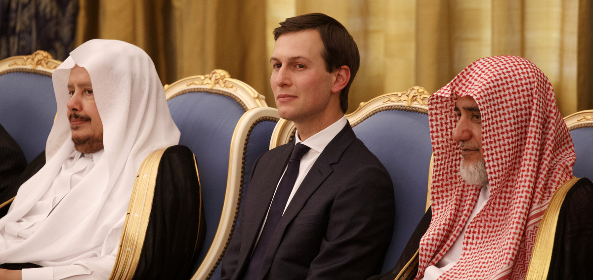 White House senior adviser Jared Kushner watches a ceremony where President Donald Trump was presented with The Collar of Abdulaziz Al Saud Medal, at the Royal Court Palace, May 20, 2017, in Riyadh. (AP/Evan Vucci)