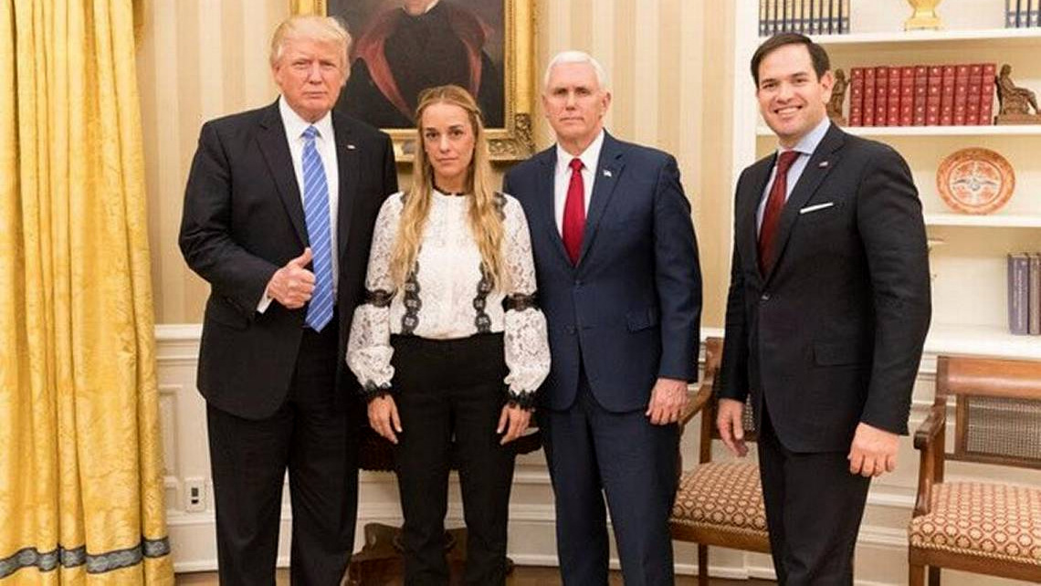 President Donald Trump, Vice President Mike Pence and Sen. Marco Rubio meet with Lillian Tintori, wife of US-backed Venezuelan opposition leader Leopoldo Lopez. (White House Photo)