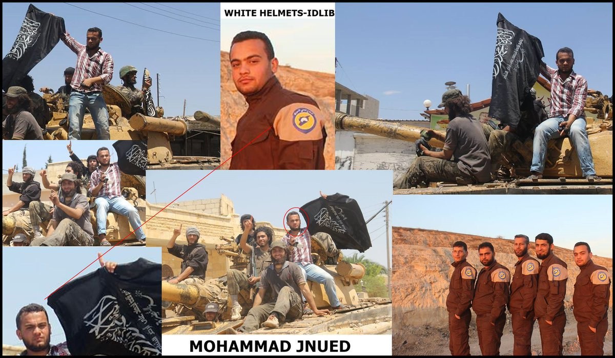Images taken from the Facebook page of White Helmets operative Mohammad Jnued showing him holding the Nusra Front flag.