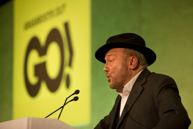 Guest speaker British politician George Galloway makes a speech at a rally held by the Grassroots Out (GO), anti-EU campaign group at the Queen Elizabeth II conference centre in London, held to coincide with the EU summit in Brussels, Feb. 19, 2016. (AP/Matt Dunham)