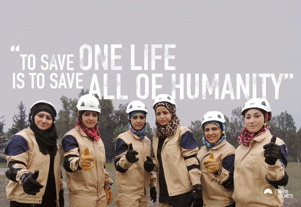 The White Helmet motto. (Photo: White Helmet website)