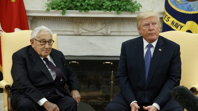 President Donald Trump meets with former Secretary of State Henry Kissinger in the Oval Office of the White House, Tuesday, Oct. 10, 2017, in Washington. (AP/Evan Vucci)