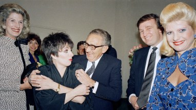 Henry Kissinger and Nancy Kissinger, Donald Trump and wife Ivana Trump backstage at a Liza Minelli show in New York, June 11, 1987. (AP/Ron Frehm)