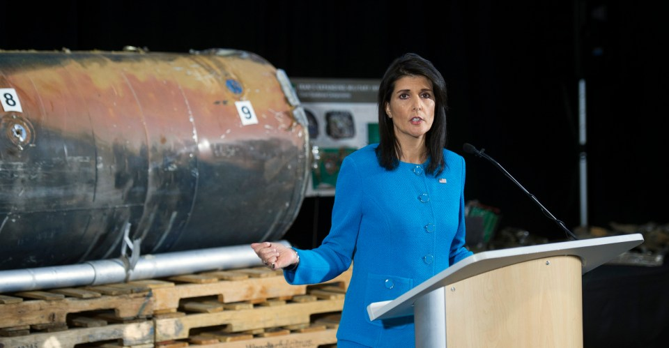U.S. Ambassador to the U.N. Nikki Haley speaks in front recovered segments of a rocket the U.S. and Saudi Arabia allege came from Iran during a press briefing at Joint Base Anacostia-Bolling, Dec. 14, 2017, in Washington. (AP/Cliff Owen)