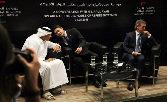 U.S. Speaker of the House Paul Ryan, R-Wis., center, speaks with Emirati Ambassador to the U.S. Yousef al-Otaiba, during a Jan. 25, 2018 meeting in Abu Dhabi, United Arab Emirates, to discuss ways to challenge Iran's growing influence. (AP/Jon Gambrell)