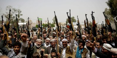 Yemeni tribesmen hold their weapons and chant slogans during a tribal gathering showing support for the Houthi movement, in Sanaa, Yemen, May 26, 2016. Hani Mohammed | AP