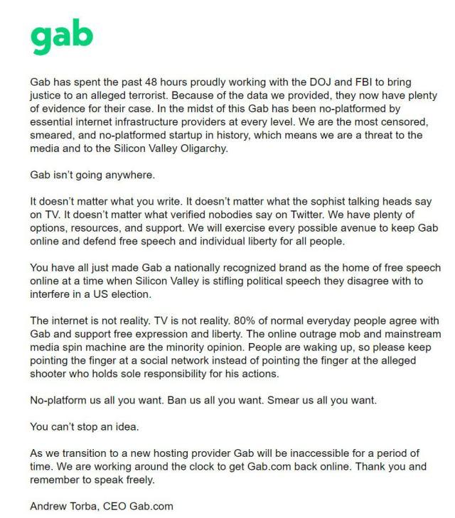 Gab Landing Page Message