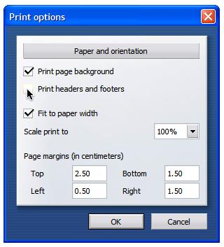 Opera Print Options Screen