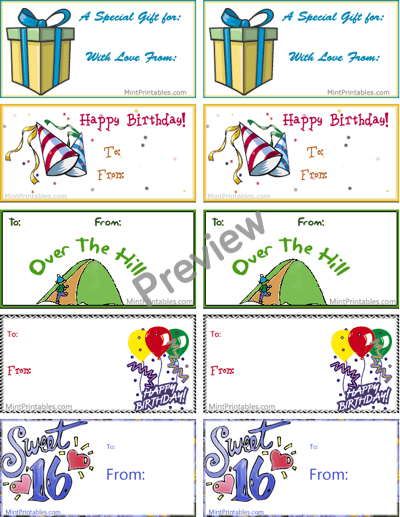 Free Printable Birthday Tag Combo Pack