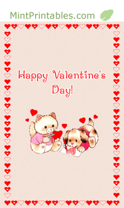 Printable Valentine Card Puppy And Kitten Making Valentines