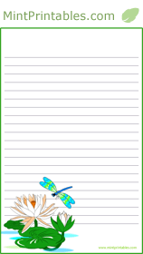 Free Printable Dragonfly Stationery