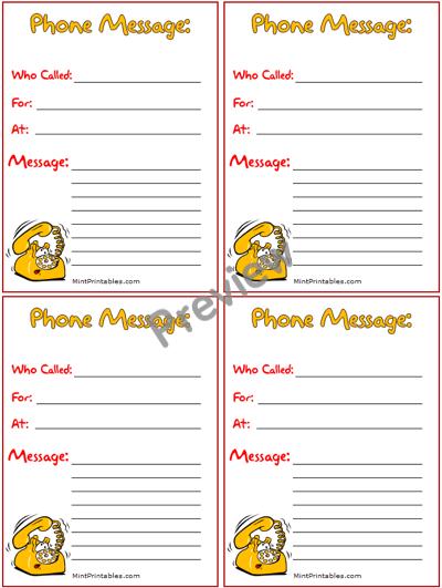 Free Printable Cartoon Phone Message Notepad