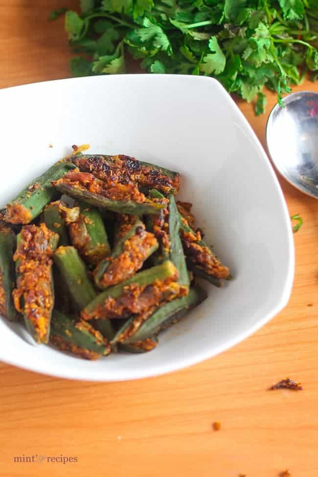 Bharwa Bhindi on a white bowl