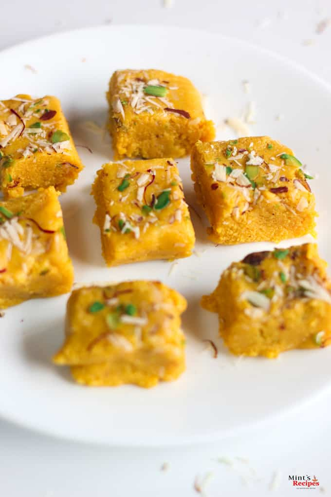 Kesaria Milk Barfi Recipe