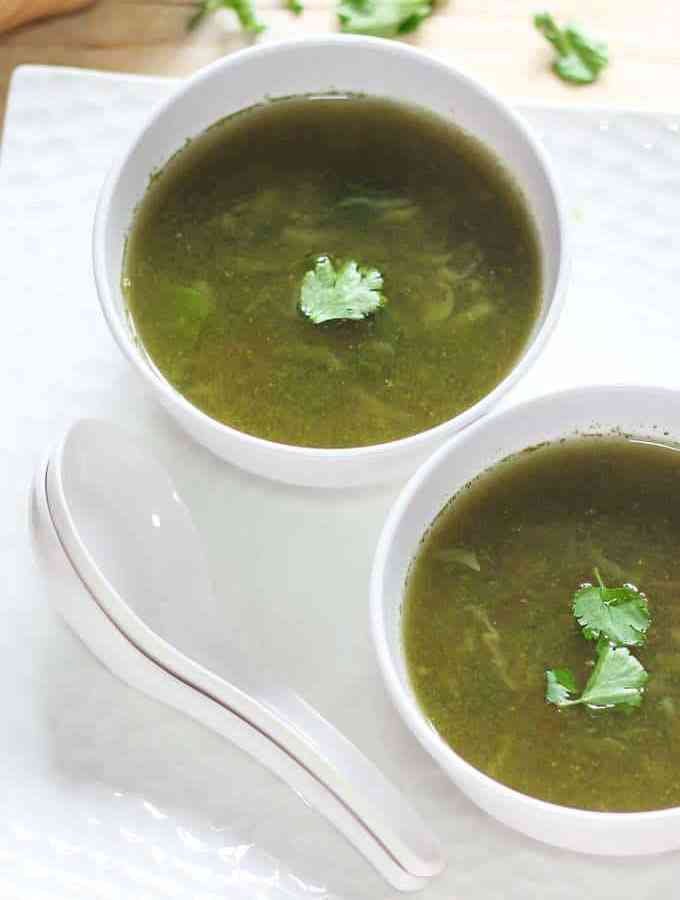 Lemon Coriander Soup on a white bowl