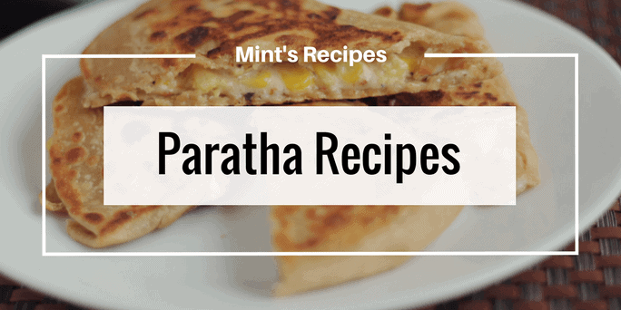 Paratha Recipes written as overlay over paratha image
