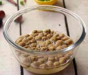 Soya chunks and water in bowl