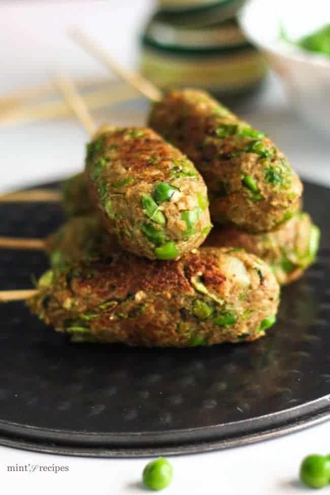 Veg Soya Kebab on a black tray