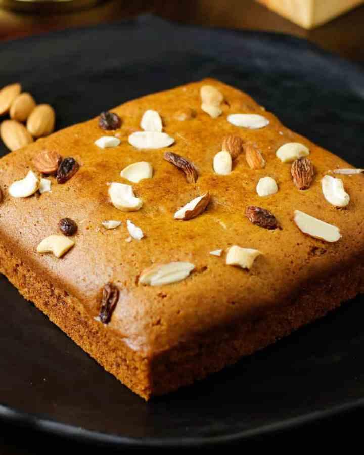 Eggless Whole Wheat Jaggery Cake