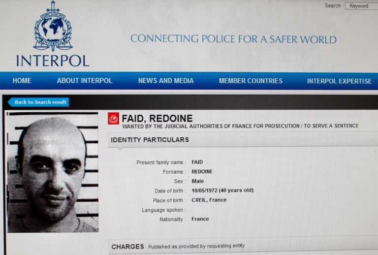 Reproduction de la fiche de Redoine Faïd sur le site d'Interpol, à Paris le 15 avril 2013