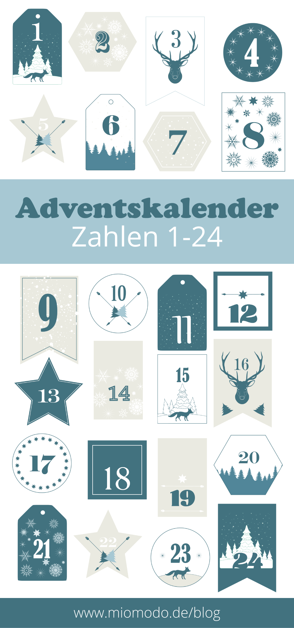 adventskalender zahlen 1 24 drucken miomodo diy blog. Black Bedroom Furniture Sets. Home Design Ideas
