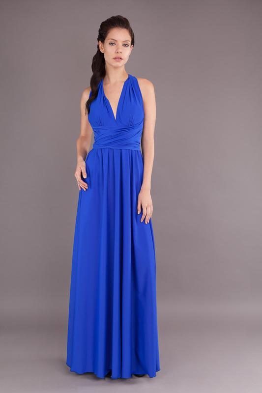Vestido cuello V azul rey - Mipa fashion