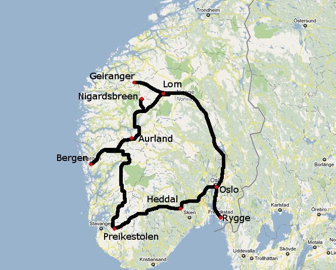Ruta por Noruega; recorrido y preparación