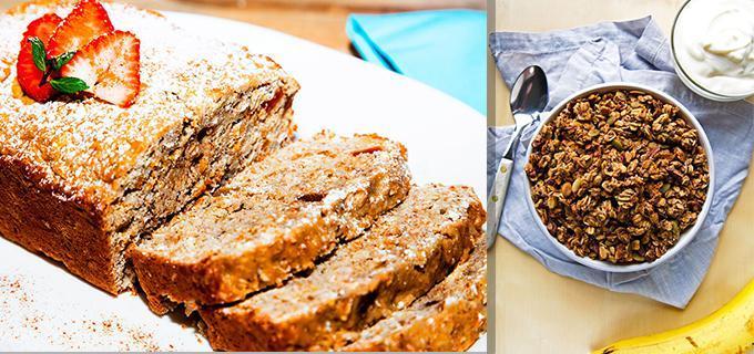 Pan de platano con granola