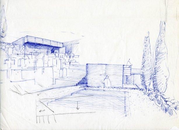 Croquis de la ampliación del cementerio de Robledondo - MTM arquitectos