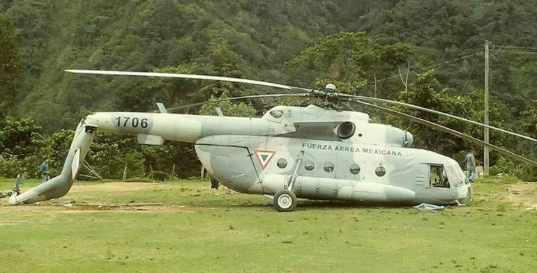 Se desploma un helicóptero que llevaba ayuda humanitaria a Chiapas
