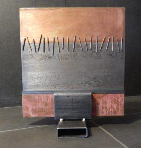 etude metallique carré couture 2016 face - Artiste Plasticienne Noiseau & Val de Marne 94