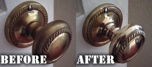 Brass Door Handles before and after