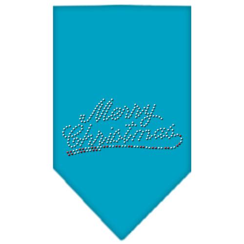 Merry Christmas Rhinestone Bandana Turquoise Large
