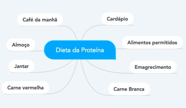 mapa mental dieta da proteína