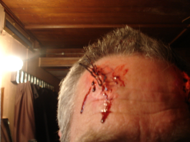 trauma, wound, sfx make up, special effects makeup, horror, gore, wax, liquid latex, stitches