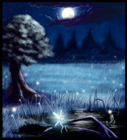 digital art, field, night, tree line, moon, fireflies, faerie
