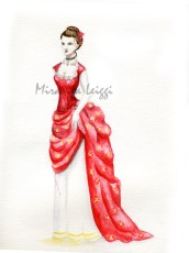 ladies evening wear, watercolor, costume rendering, ball gown, bustle