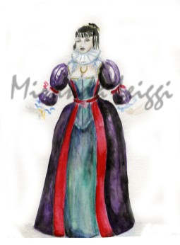 costume rendering, watercolor, period study, women's dress