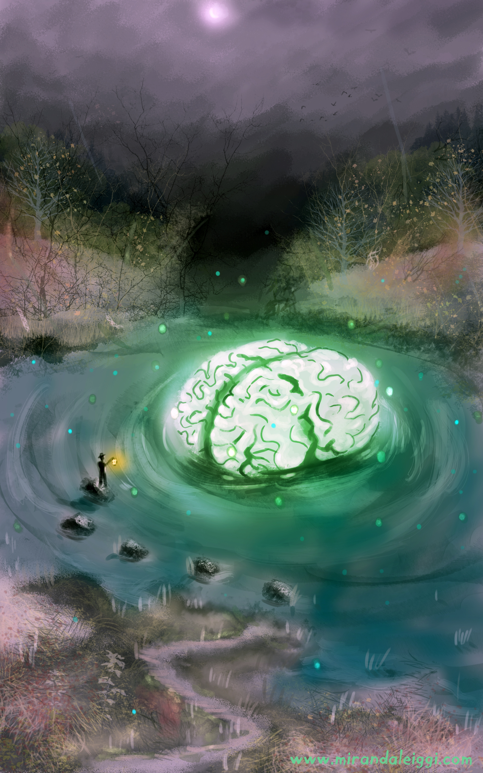 brain bog, surrealism, concept art, swamp, light, water, night, fireflies