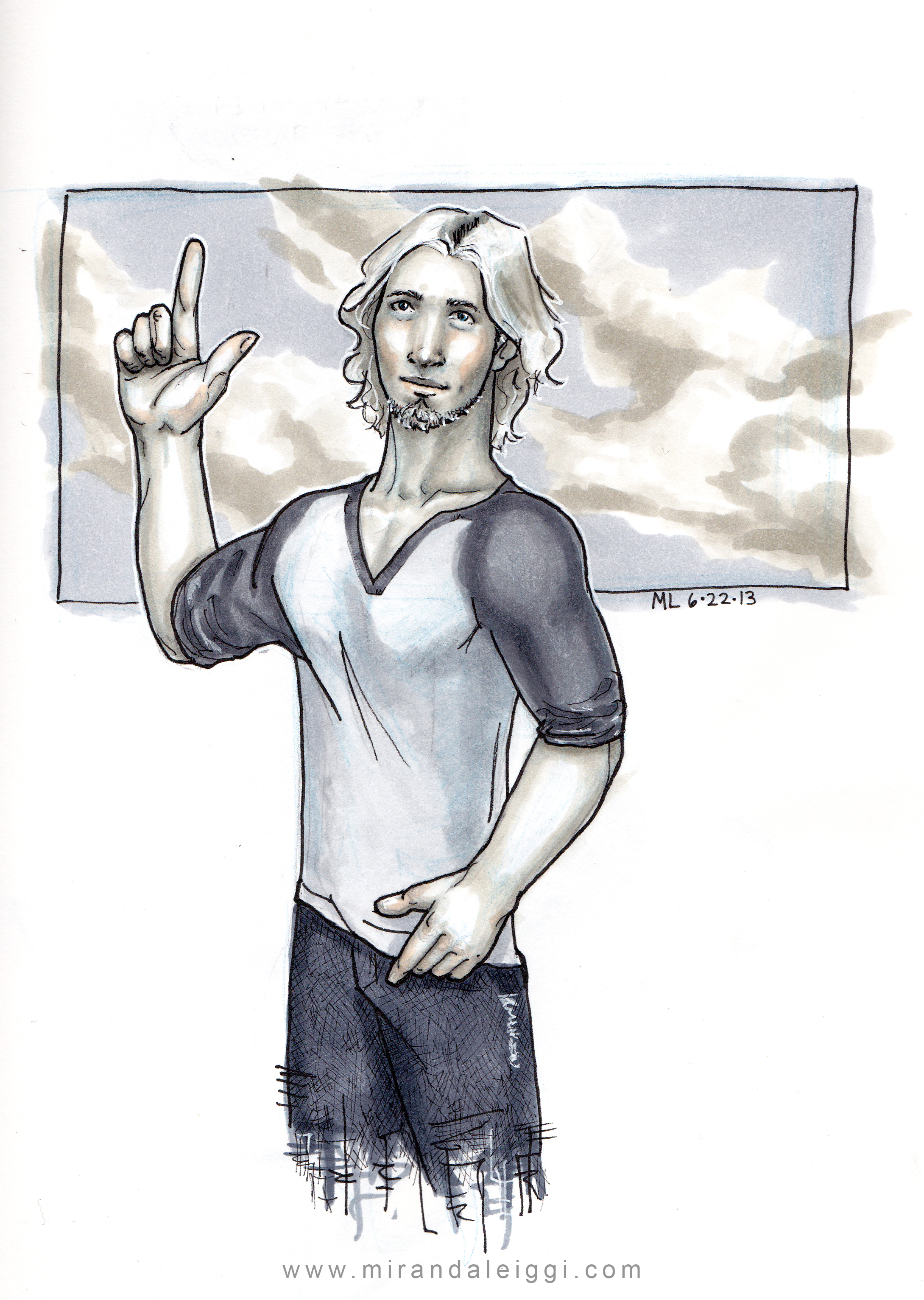 copic, male, man, clouds, comic book style, hero
