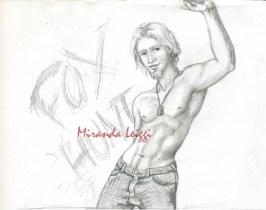 character study, figure study, pencil, shirtless guy, dog tags