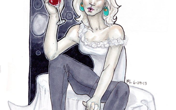 girl, woman, female, drinking, copic markers, wine, bubbles, comic style