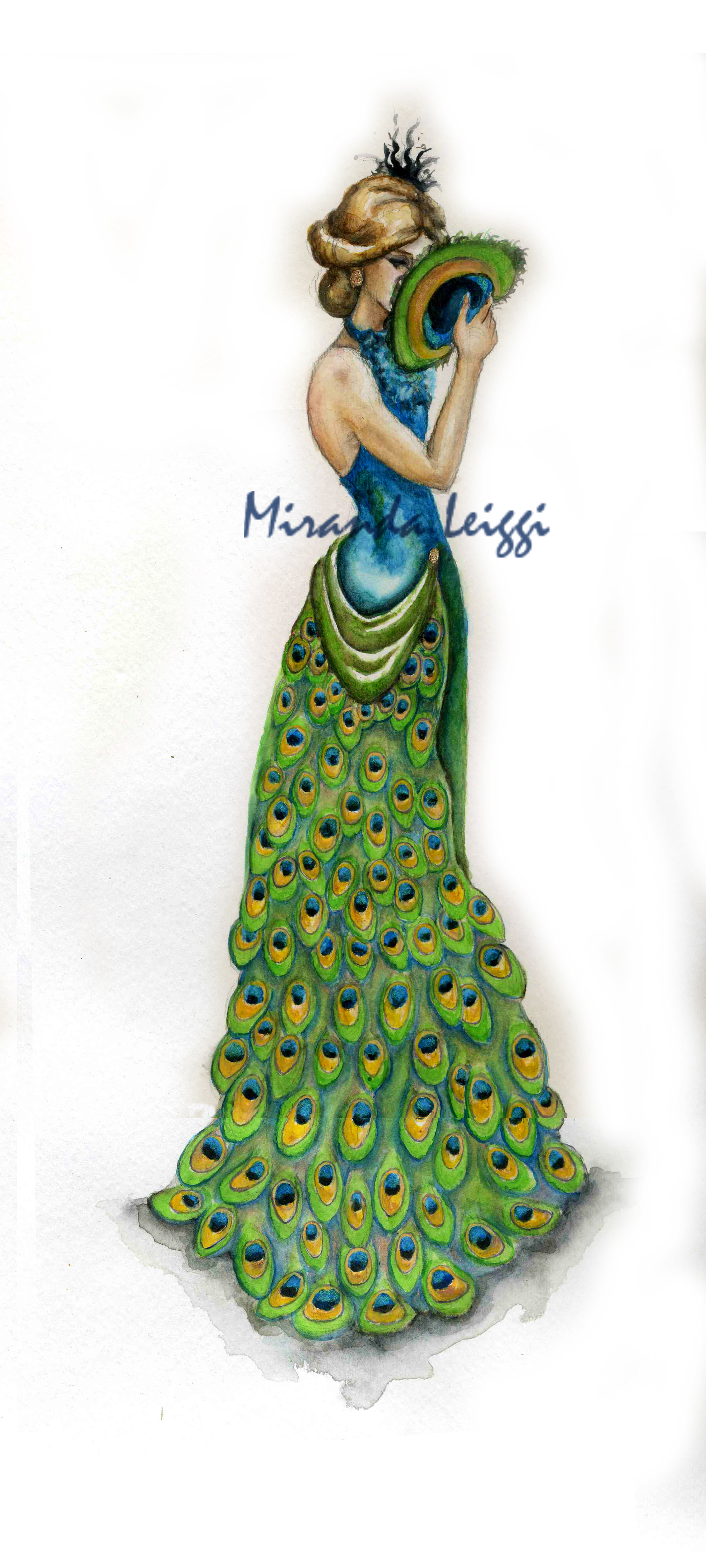 costume rendering, watercolor, peacock dress, women's fashion, evening wear, peacock feathers