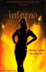 poster, inferno, dante's inferno, digital art, fire, silhouette, woman