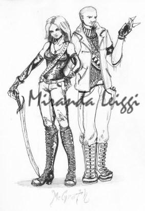 comic, ink, pen and ink, vampire hunters, sword, combat boots, man, woman