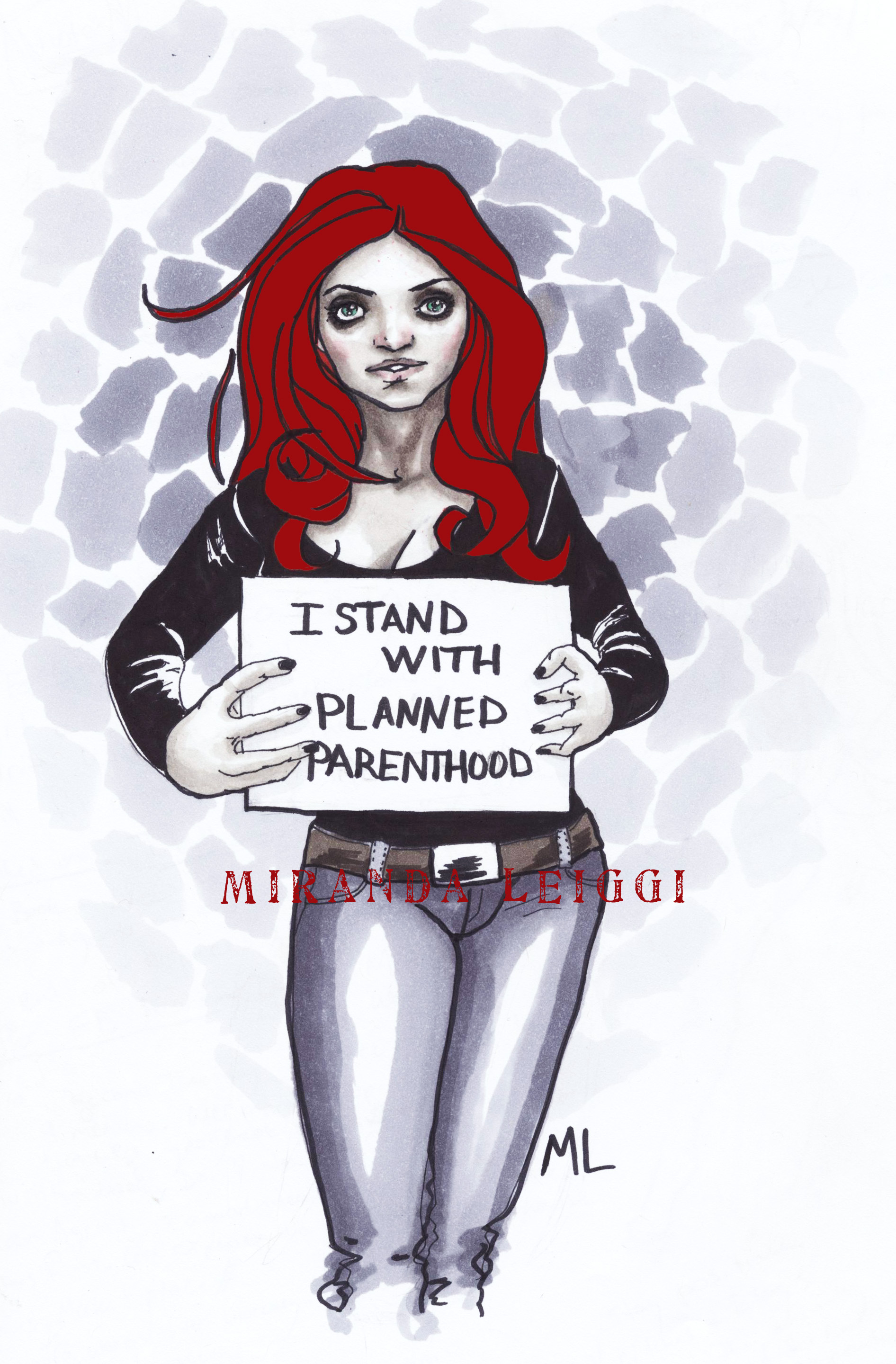 copic marker drawing, woman, red hair, political sign