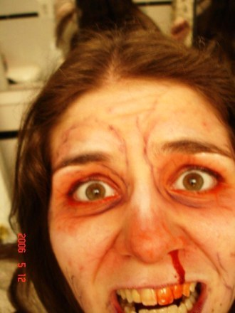 sfx makeup, special effects make up, horror, gore, trauma, wounds, bloody nose, veins, scary makeup